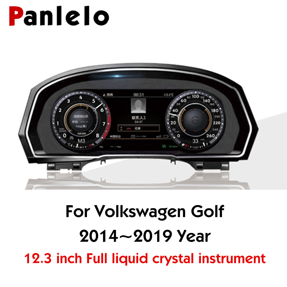Panlelo Instrument Panel 12.3 Navigator with Intelligent Full Liquid Crystal Instrument for Volkswagen Golf 2019 Wifi Airplay