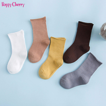 Avitalk 5 Pairs Baby Boys Girls Socks Kids Lovely Warm Solide and Cartoon Knitted High tube Socks 0-5Y Christmas Gifts For kids 5 pairs baby girls boys socks character print kids socks for girls clothing brand 100