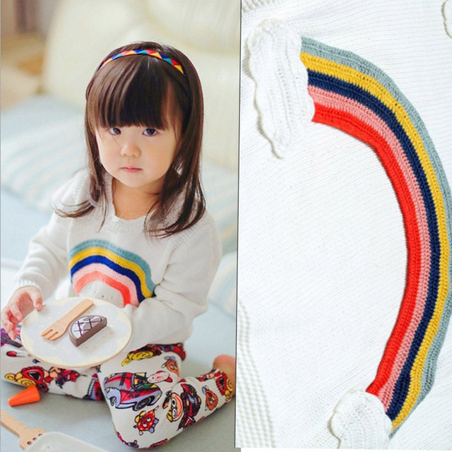 Autumn Baby Girls Sweater Jumper Knitwear Rainbow Long-Sleeve Pullover for Girls Kids Toddler Sweater Children's Clothing