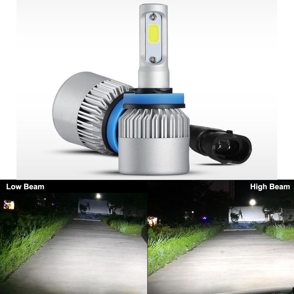Eseastar 2ks 36W COB vysoce výkonný LED světlomet H4 vestavěný v turbo chladicím ventilátoru vysokorychlostní H7 H13 H16 žárovka světlometu 8000LM 6000K