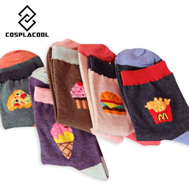 COSPLACOOL Новое Прибытие Корейский Творческой Новизны Фри Гамбургер Пиццы Pattern Женщины Хлопок Meias Носки Мода Harajuku Носки Женщин