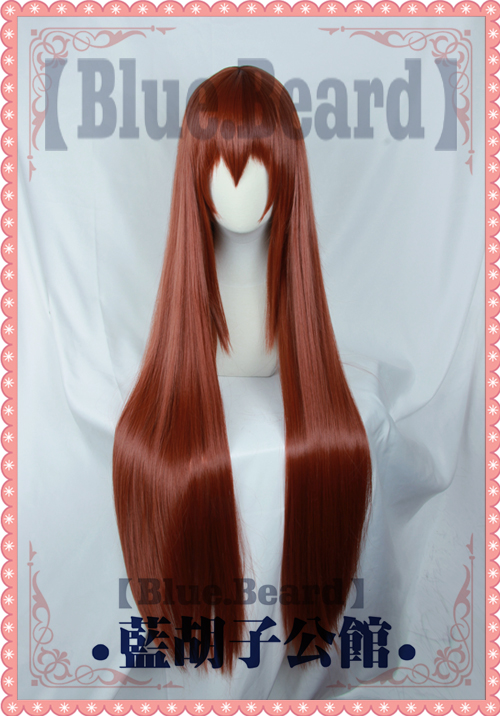 Anime Steins Gate Labmem No 004 Makise Kurisu Christina Straight Long Cosplay Wig 80cm Halloween Role