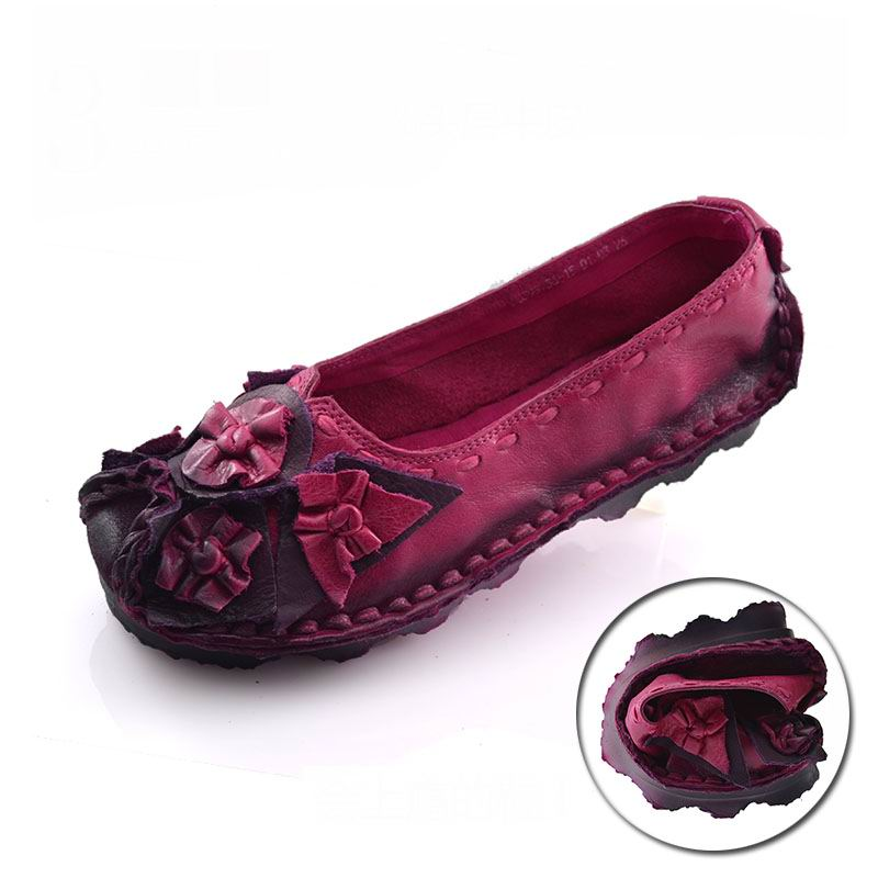 ФОТО Handmade vintage women's shoes Flower genuine leather female moccasins loafers soft cow muscle outsole casual shoes flats