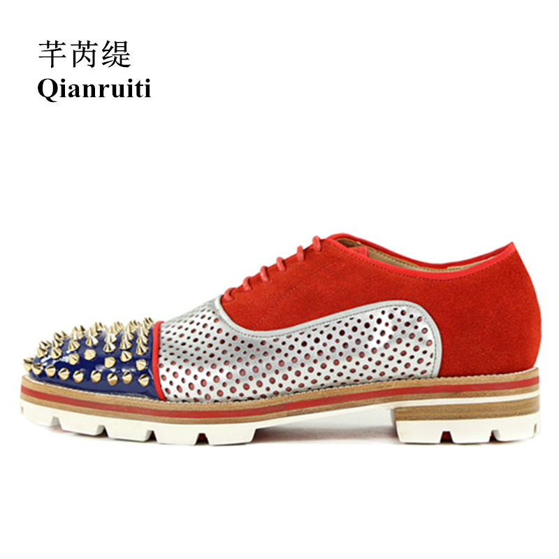 Qianruiti Men Rivet Flats Lace-up Anti-skid men Oxfords Breathable Camping Shoes for Men EU39-EU46 Red Blue Black Pink qianruiti men alligator gold loafers metal toe business wedding oxfords high quality lace up slippers men dress shoe eu39 eu46