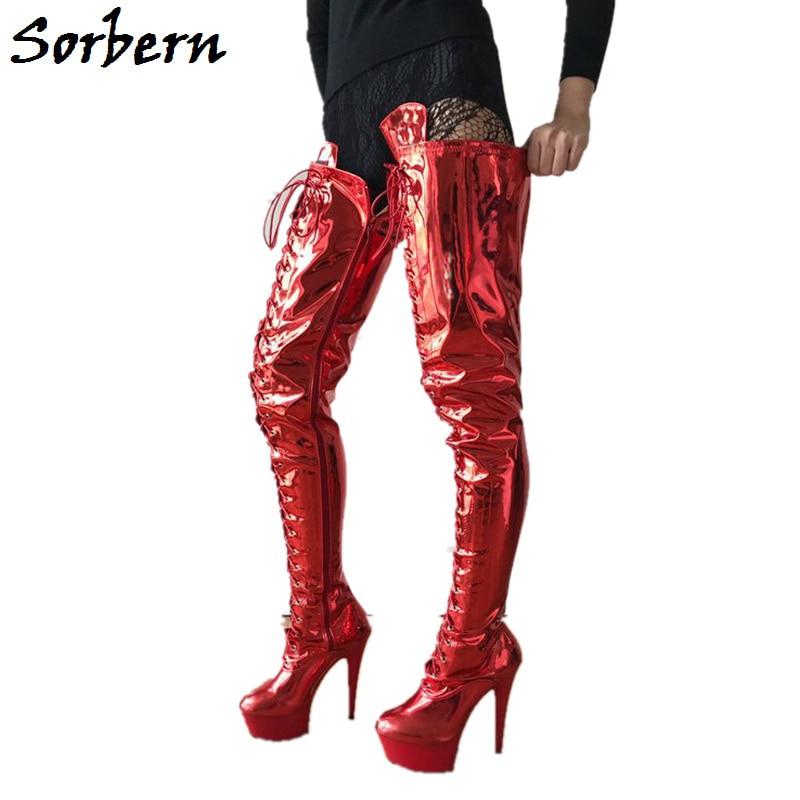 rojo Dedo Tacón Entrepierna Alto Del Sorbern Zapatos Pie Botas Custom Moda Super Cm Muslo De Encaje Mujer Color Spike Redondo 5 Alta Plataforma 874nB4WwH