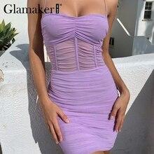 25a4cd7ecdb94 Glamaker Plissee transparent mesh sexy bodycon kleid Frauen sommer rohr  vintage mini sommerkleid Elegante weibliche party