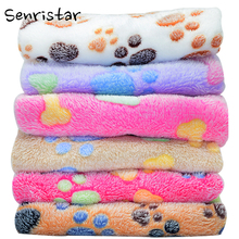Soft Coral Fleece Sleeping Dog Bed Blanket For Small Medium Large Cat Mat Cute Paw Printed Breathable Pet Kennel