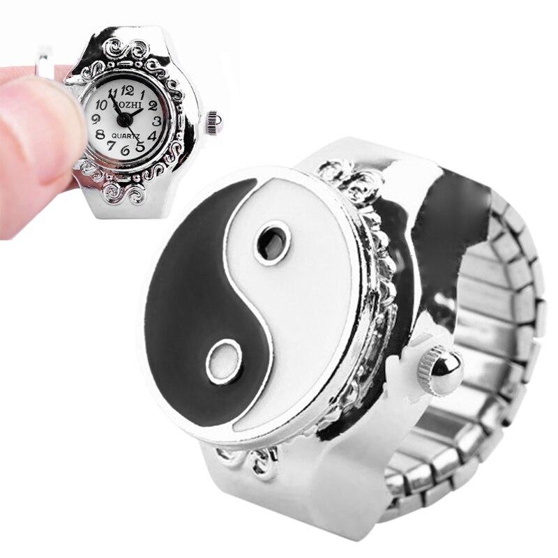 JAVRICK Women Dial Quartz Analog Finger Ring Watch Elastic Gift Fashion Creative Steel