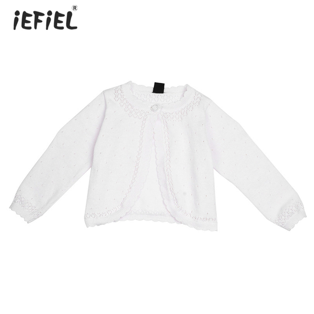 dcfb5355b White Kids Girls Lace Flower One Button Closure Knit Bolero Shrug ...