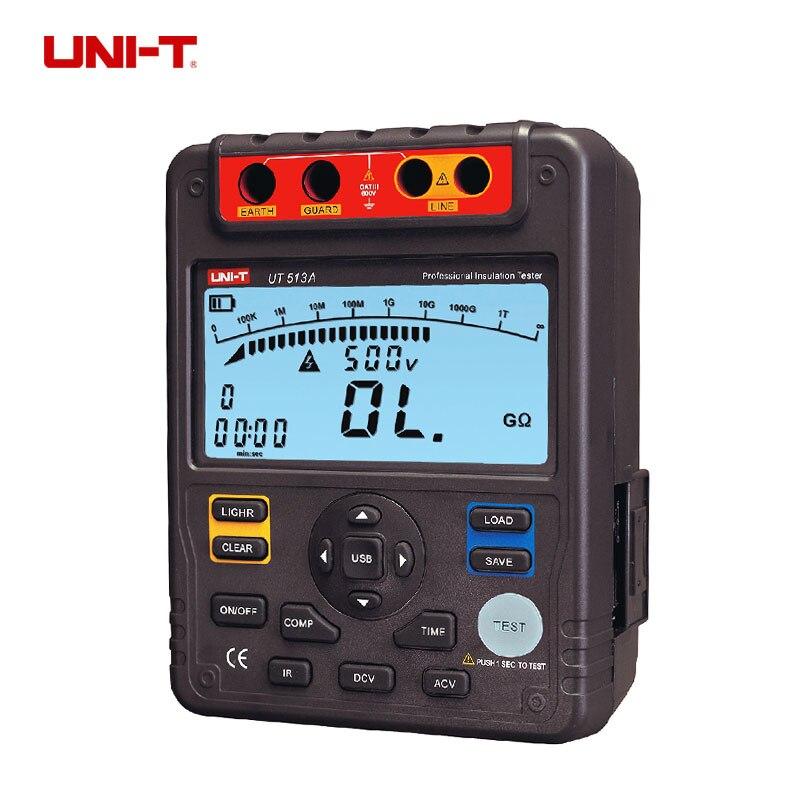 UNI-T UT513A numérique testeur de résistance d'isolation megohmmètre voltmètre 5000 V 1000 M ohm w/USB Interface terre sol mètre