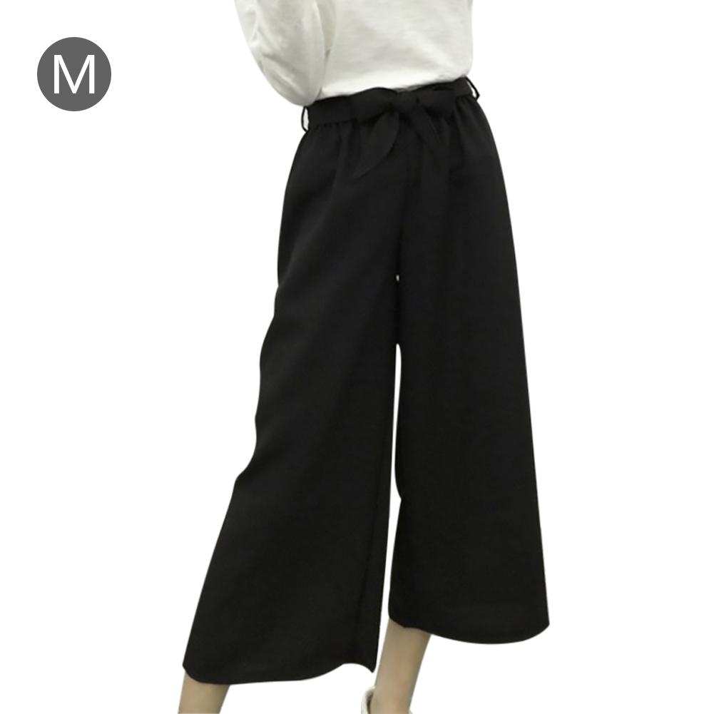 Women's Loose Plus-size Casual Striped Wide Leg   Pants   Wide-legged   Capri     Pants   with Elastic Ribbon Casual Straight   Pants   Female