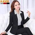 Invierno mujeres del desgaste del trabajo de trajes de los pantalones fijan OL formal para mujer de manga larga chaqueta con pantalón de negocios más tamaño para mujer de la oficina traje