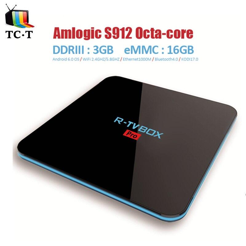 ФОТО 10pcs Original R-TV BOX Pro Amlogic S912 3GB/16GB Android 6.0 TV Box WIFI AP6330 2.4GHZ/5.8GHZ BT4.0 OTA Miracast APK R TV BOX