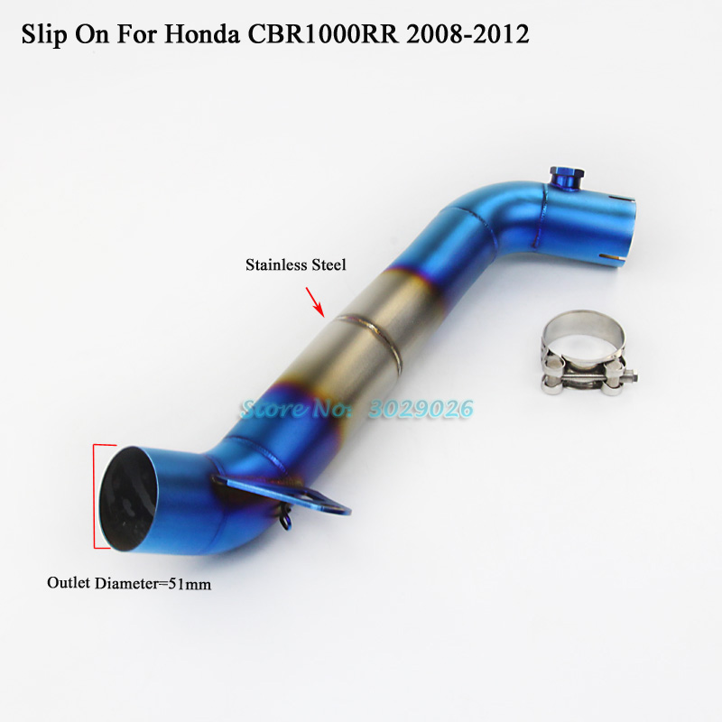<font><b>CBR1000RR</b></font> Manifold Slip On For Honda CBR1000 RR <font><b>2008</b></font> - 2012 Motorcycle Modified <font><b>Exhaust</b></font> Muffler Middle Link Pipe Blue 51mm image