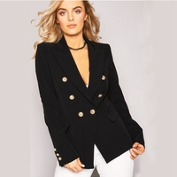 2017 Fashion Style Women S Blazers Gold Buttons Double Breasted Blazer Female Outerwear Jacket Femme Jaquetas