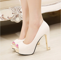 High Quality Summer Sping New Sexy Peep Toe Simple Sandals All Match Rough Simple Pumps Women