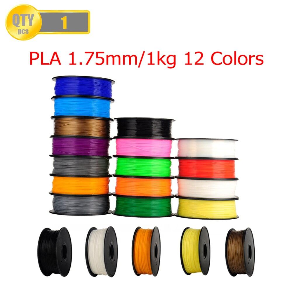 Filament d'imprimante du Filament 1 kg/Roll1.75mm 3D de PLA pour la Machine d'imprimante de RepRap i3 3D beaucoup de couleurs couleur aléatoire facultative d'entrepôt des états-unis
