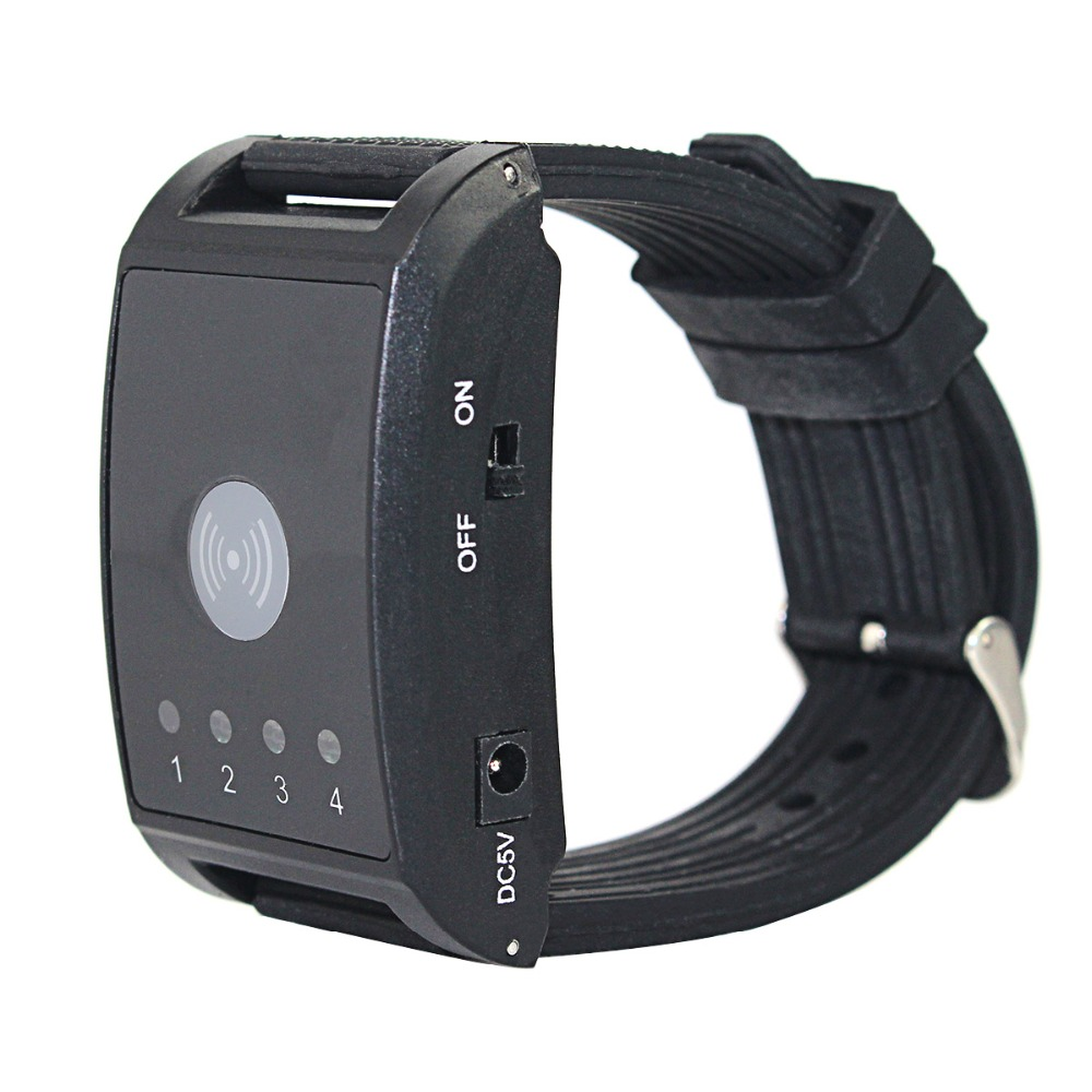 433MHz 4 Channel Wireless Calling System 1 Watch Pager 2 Call Button Waiter Call Pager System Restaurant Equipments F4411A in Pagers from Computer Office