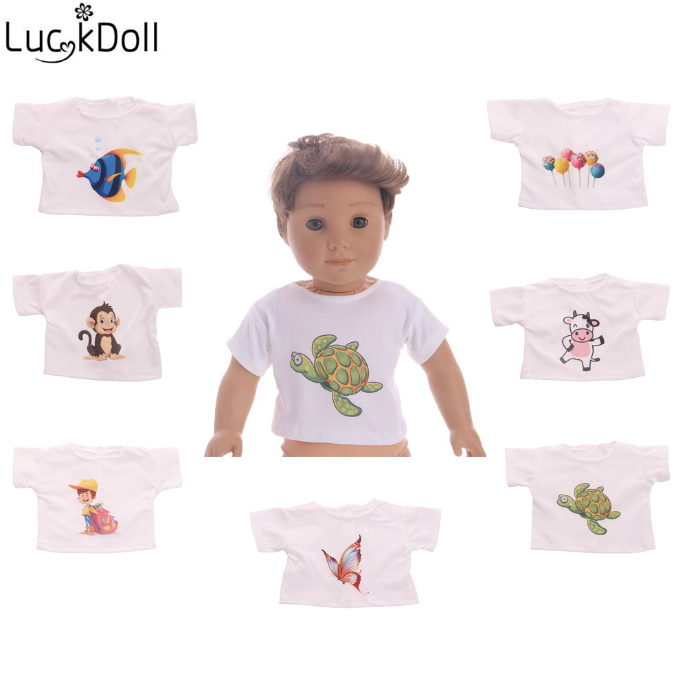 LUCKDOLL Cotton T-Shirt Fits 18-Inch American  Doll Logan Boy Doll Clothes Accessories Toys For Children