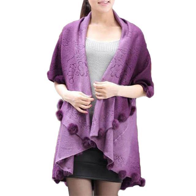 MYPF Womens Loose Knitting Batwing Poncho de Lana Chaqueta de Invierno Capa Abrigo Cardigan Púrpura
