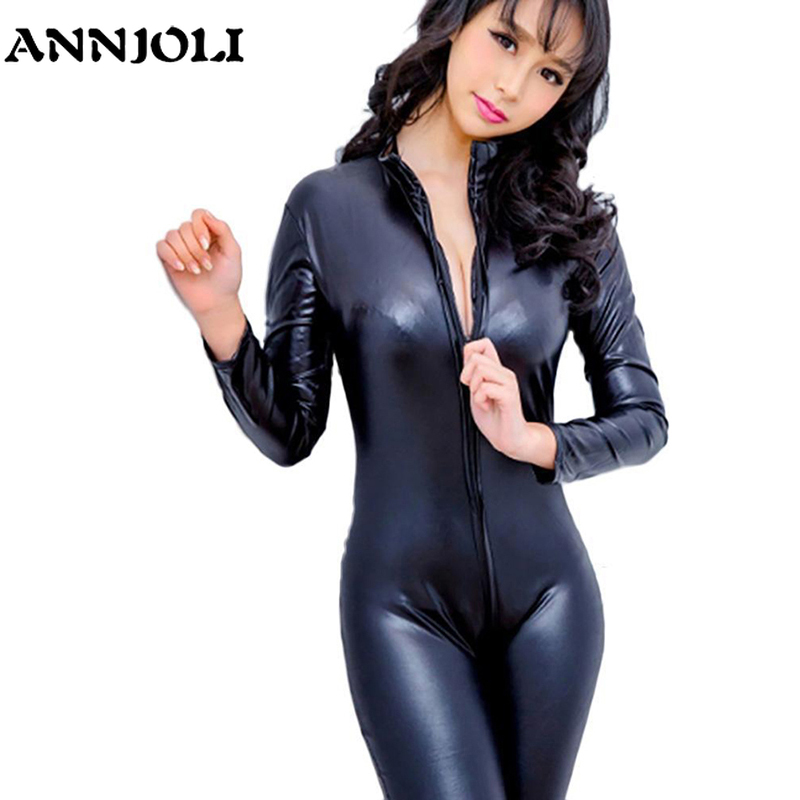 ANNJOLI Women Sex Black Faux Leather Latex Catsuit Smooth Wetlook Jumpsuit Front Zipper Elastic PU Bodysuit Slim Clubwear Cospla
