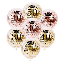 10Pcs 12inch Rose Gold Latex Balloons Air Black 30 40 50 60 70 Years Happy Birthday Party Decorations Adult Foil Helium Balloon