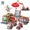 Super gran estación de bomberos 774 unids juguete ladrillos de bloques de construcción de helicópteros kazi educativos bloques compatibles con lego city fire