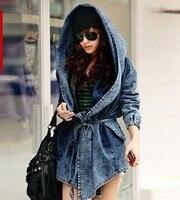 Free Shipping Washed Denim Jacket Big Hat Fashion Autumn Women Desigual Coat AC 100