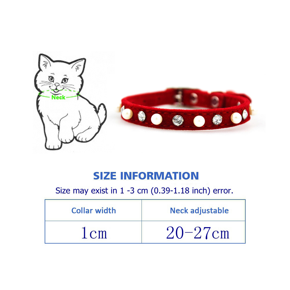 Cat Collar With Bell Dog Collar For Cats Solid Flocking Collars For Cats Kittens Puppy Rhinestone Pearl Cat Collars Pet Supplies