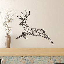 Vinyl Removable Geometric Deer Wall Stickers Christmas Decorations For Home removable deer pattern christmas showcase wall stickers