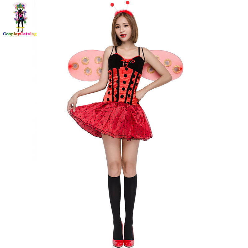 Sleeveless Women Ladybug Dresses with Wing Halloween Insect Cosplay Costume Adult Party Fancy Dress Butterfly Performance Suit