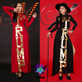 Traje femenino sexy letras de oro rojo y negro vestido de Longuette delgado para bailarín del cantante estrella estrella discoteca espectáculo de rendimiento