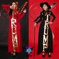 Traje feminino sexy letras douradas Longuette fino vestido vermelho e preto para o cantor dançarino estrela estrela boate show de desempenho