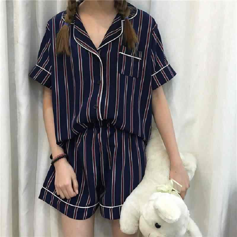 2da2747ea ... 2019 de moda de verano Pijamas Mujer giro-abajo Collar de ropa de  dormir conjunto ...