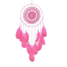 Buy pink dream catcher and get free shipping on aliexpress large cricle feather flower dream catcher beads hanging window car ornament hanging decoration wind chime dream mightylinksfo