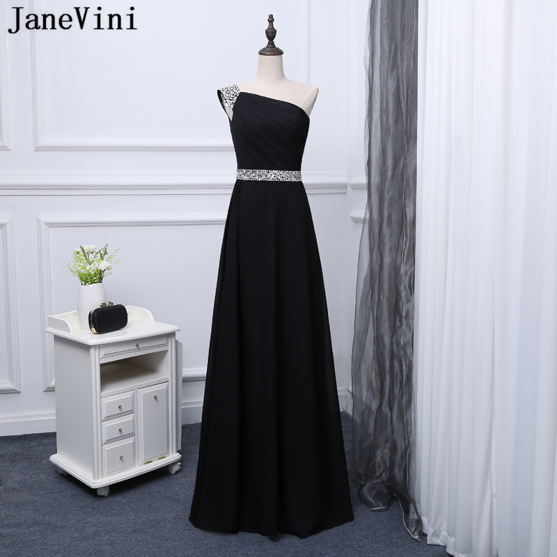 JaneVini Black Chiffon Long   Bridesmaid     Dresses   A Line One Shoulder Sequined Beaded Backless Floor Length Vestidos Largos De Gasa