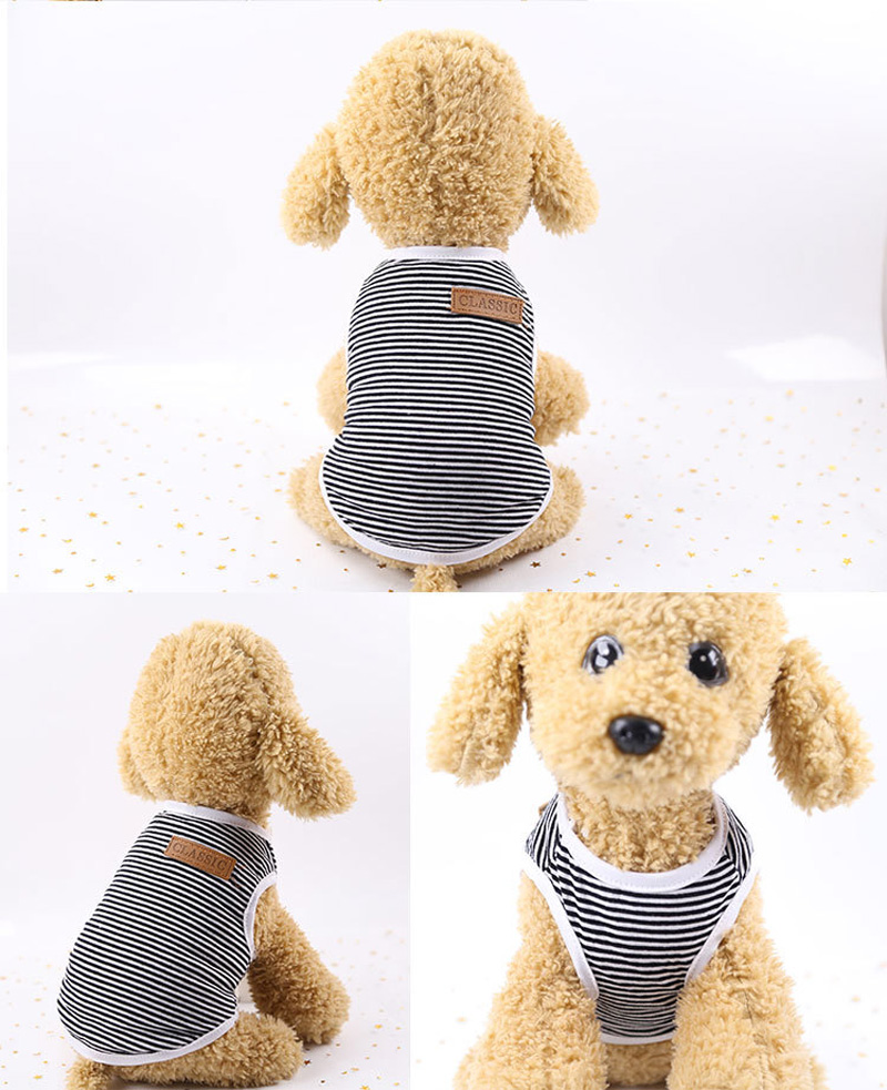 Pets Dog Clothing Spring/Summer Pet Cat Clothes for Cats Kitty Kitten Classic Striped Vest T-shirt Fashion Cotton Cats Shirts 7