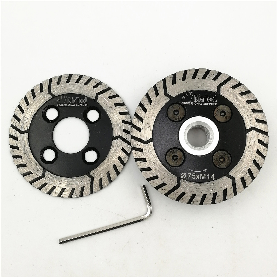 цена на DIATOOL 1pc 75mm Diamond Cutting Grindng Disc with flange and 1pc blade Diameter 3 Dual Saw Blade For Granite Marble Concrete
