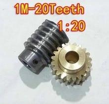 2set/lot  1M-20T Ratio:1:20 Copper Worm Gear  Reducer Transmission Parts Gear Hole:5mm Rod Hole:5mm