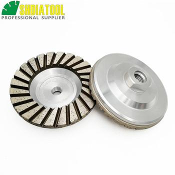 SHDIATOOL 2pcs Dia 4inch/100mm Diamond Turbo Grinding Cup Wheel Grit #30 Aluminium Base Disc