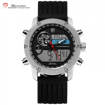 2596eae405a6 Requiem SHARK Reloj Deportivo 6 Manos Calendario Doble Zona Horaria tablero  3ATM Impermeable Banda de Cuero militar reloj de los hombres   SH210
