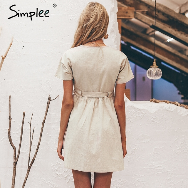 Simplee Vintage button women dress shirt V neck short sleeve cotton linen short summer dresses Casual korean vestidos 2019 festa 4
