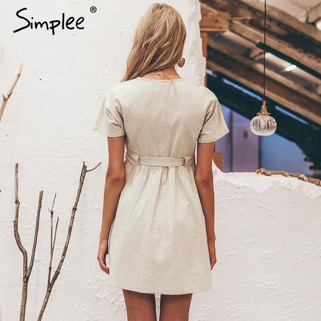 Simplee Vintage button women dress shirt V neck short sleeve cotton linen short summer dresses Casual korean vestidos 2019 festa