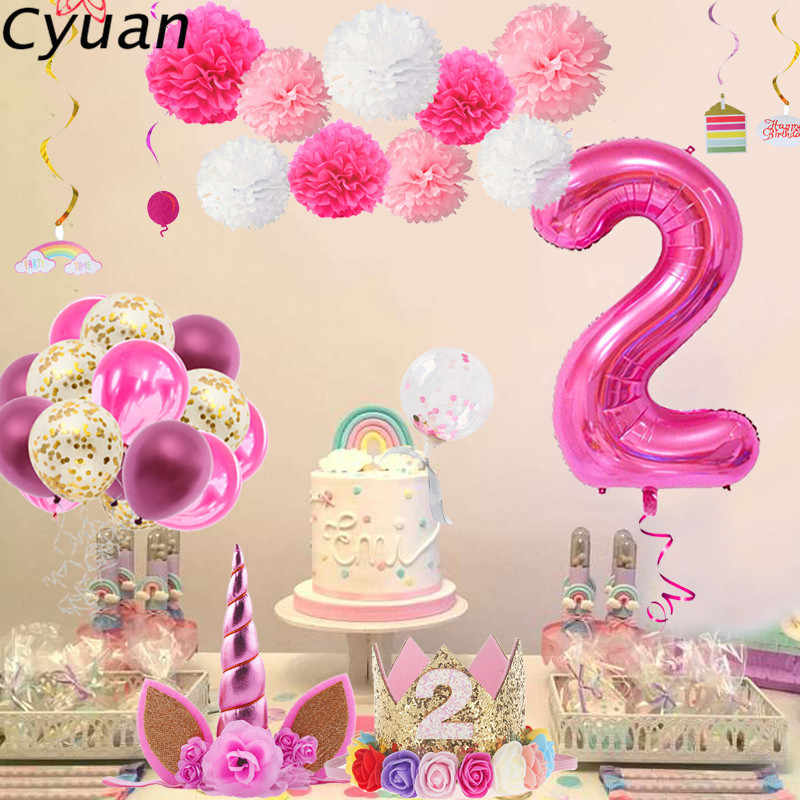 Cyuan Girl 2nd Birthday Party Supplies Giant 2 Number Balloons Helium Foil Balloon Baby Second