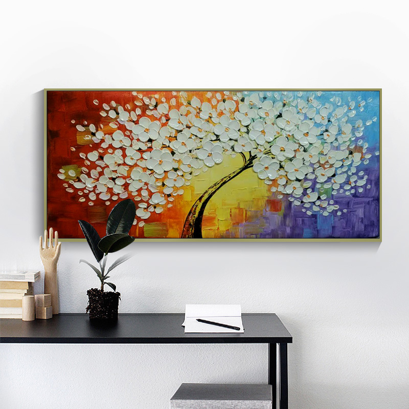 1 Panel Tree Of Life Canvas Painting Palette knife Tree Painting Hand Painted Pictures Cuadros Decor For Living Room Unframed in Painting Calligraphy from Home Garden