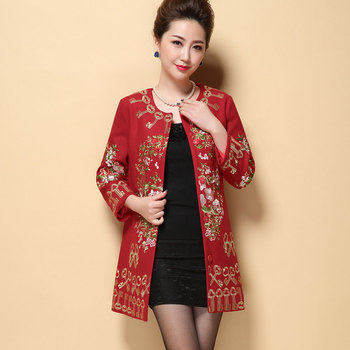 Black Red Plus Size M-5XL Retro Women's Wool Coat Gold Embroidered Flower Printed Outwear Coat Female Trench Coats For Women