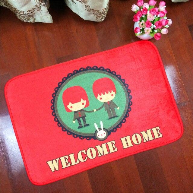 New Doormat Cartoon Lover Welcome Home Painting Series Bedroom Carpet Bath  Mats Super Soft Cartoon Floor