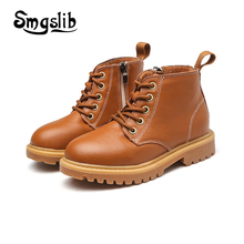 Smgslib Kids Autumn Winter Fashion Martin Boots For Children Genuine Leather Shoe Baby Girl Black Boots Boys Brown Ankle Boot cctwins kids 2018 autumn children pu leather boot baby girl fashion over the knee boot toddler black brand shoe h005