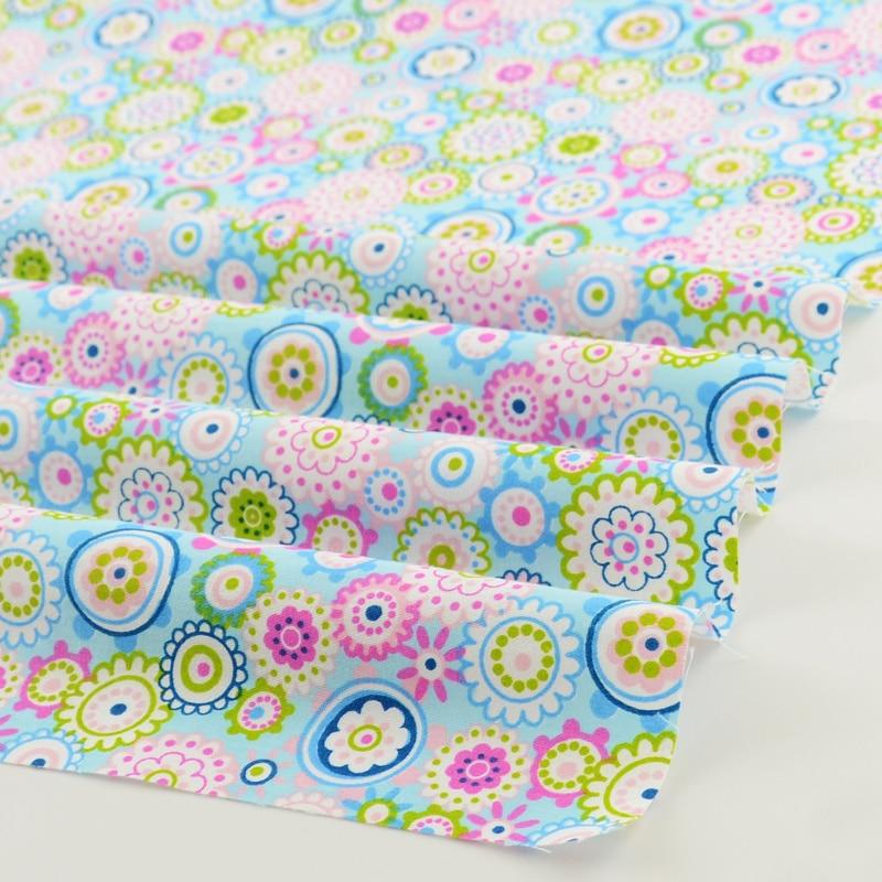 Teramila Blå Blomma Bomull Tyg Quilting Telas Por Metro Patchwork - Konst, hantverk och sömnad - Foto 3