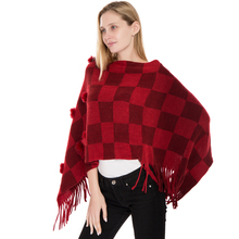 2018 New Winter Fashion Cashmere Scarf Tassel Poncho And Capes Mujer Womens Warm Thick Plaid Shawls Hairball Female Sjaal